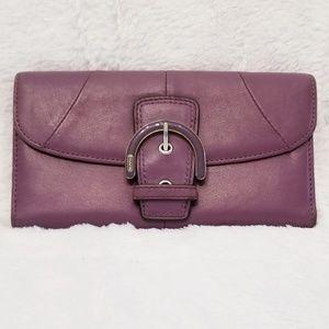 Coach Rare Plum Color Leather Soho Trifold Wallet